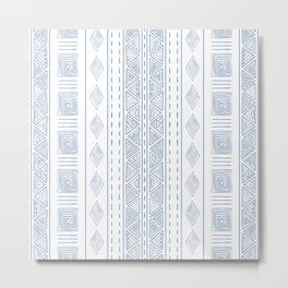 White and Blue Ethnic Tribal Pattern Metal Print