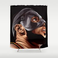 lebron Shower Curtains featuring THE KING by THEMAD3