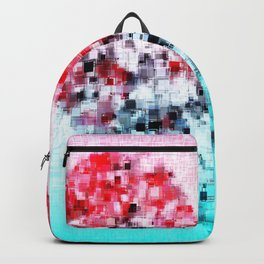 geometric square pattern heart shape abstract background in red pink blue Backpack