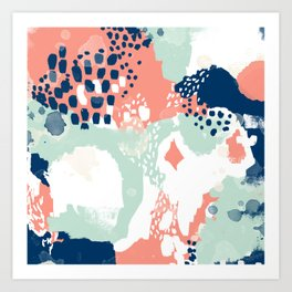 Kayl - abstract painting minimal coral mint navy color palette boho hipster decor nursery Art Print