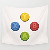 xbox Wall Tapestries featuring Xbox - Buttons by dudsbessa