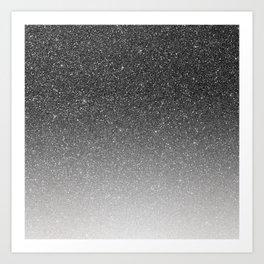 Elegant chic black silver gradient glitter Art Print