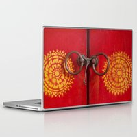 buddhism Laptop & iPad Skins featuring Temple Door by Maria Heyens