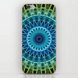 Mandala in green,blue ,golden and red tones iPhone Skin