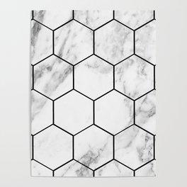 Marble hexagonal tiles - geometric beehive Poster