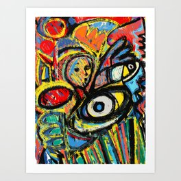 The Young King and the people Graffiti Art Expressionism by Emmanuel Signorino  Art Print