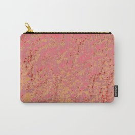 Coral Pink Golden Tangerine Eyelet Crackled Pattern Carry-All Pouch