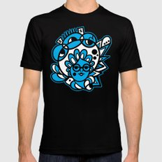 Mushroom Head (Cyan) MEDIUM Black Mens Fitted Tee