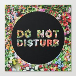 Do Not Disturb Sign in Black Circle and Flower Canvas Print