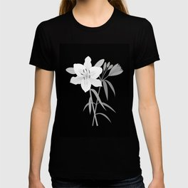 Monochrome Lilies Illustrative Art T-shirt