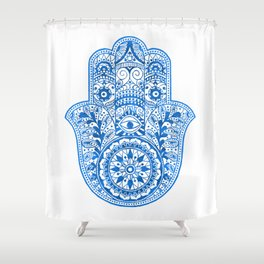 Blue Watercolor Hamsa Hand Shower Curtain