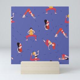 Yoga Girls blue lines Mini Art Print