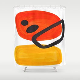 Midcentury Modern Colorful Abstract Pop Art Space Age Fun Bright Orange Yellow Colors Minimalist Shower Curtain