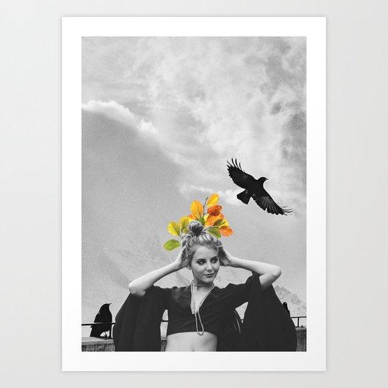 CROW GIRL Art Print