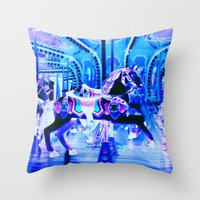 carousel Throw Pillows featuring Carousel by Whimsy Romance & Fun