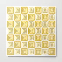 Mid Century Modern Geometric Checker 821 Yellow Metal Print