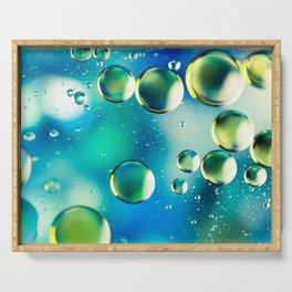 Macro Water Droplets  Aquamarine Soft Green Citron Lemon Yellow and Blue jewel tones Serving Tray