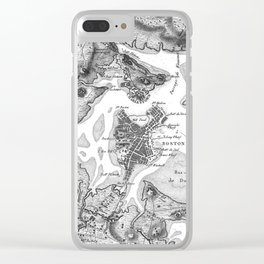 Vintage Map of Boston Harbor (1807) BW Clear iPhone Case