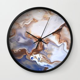 Blue Brown Abstract Fluid Modern art Wall Clock