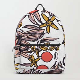 Orange Blossoms at Dusk on White Backpack