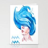 aquarius Stationery Cards featuring Aquarius by Aloke Design