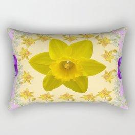 PURPLE PANSIES & DAFFODILS FLOWERS GARDEN MODERN ART Rectangular Pillow