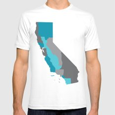 I Love California - California State Map Print White Mens Fitted Tee MEDIUM