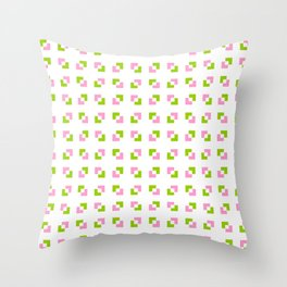 square and tartan 19 - Pink and green Throw Pillow