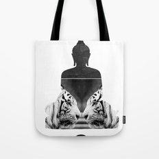 White Tiger Buddha Tote Bag