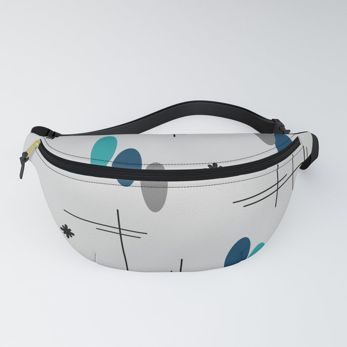 Ovals and Starbursts Teal Fanny Pack