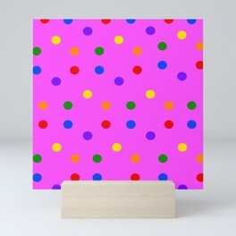 Colorful Dots on magenta colored background Mini Art Print