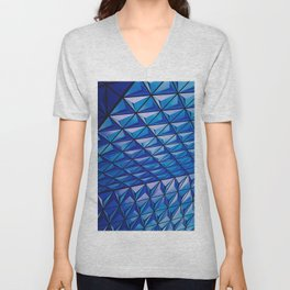 Blue Geometric Pattern Unisex V-Neck