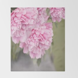 Pink Peonies On A Green And Grey Background #society6 #buyart Throw Blanket