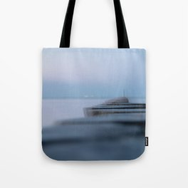 Wooden planks on the beach Tote Bag