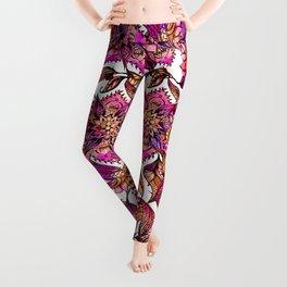 Bright watercolor floral mandala henna hand drawn pattern Leggings