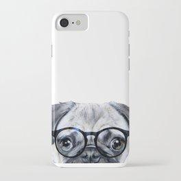 Pug with glasses Dog illustration original painting print iPhone Case