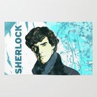sherlock holmes Area & Throw Rugs featuring Sherlock Holmes by illustratemyphoto