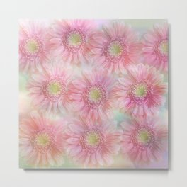 Pink daisies on a pastel background. Metal Print