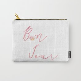 Bonjour Hello French Art Print Flower Home Decor Calligraphy Watercolour Pink Carry-All Pouch