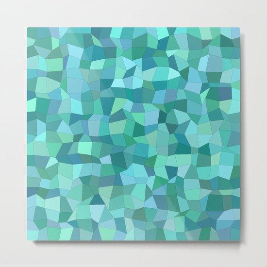 Teal rectangle mosaic Metal Print