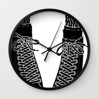 chuck Wall Clocks featuring Chuck Feet by T M Addison