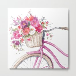Obviously Pink Bicycle Metal Print