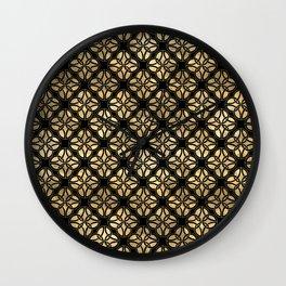 Elegant Black and Gold Irish Knot Circles Pattern Wall Clock