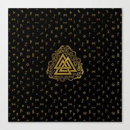 Gold Valknut Symbol on Runes Pattern Canvas Print