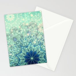 Mandala in Sea Green and Blue Stationery Cards