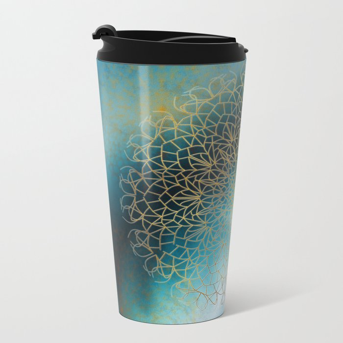 Gold Mandala Metal Travel Mug