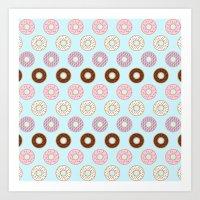 doughnut Art Prints featuring Doughnut Polka by Karolis Butenas
