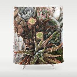 Contemporary Succulent Garden Shower Curtain