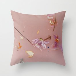 Harry Styles - pink flowers album Throw Pillow