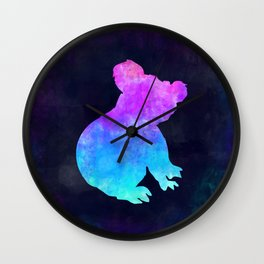 KOALA IN SPACE // Animal Graphic Art // Watercolor Canvas Painting // Modern Minimal Cute Wall Clock